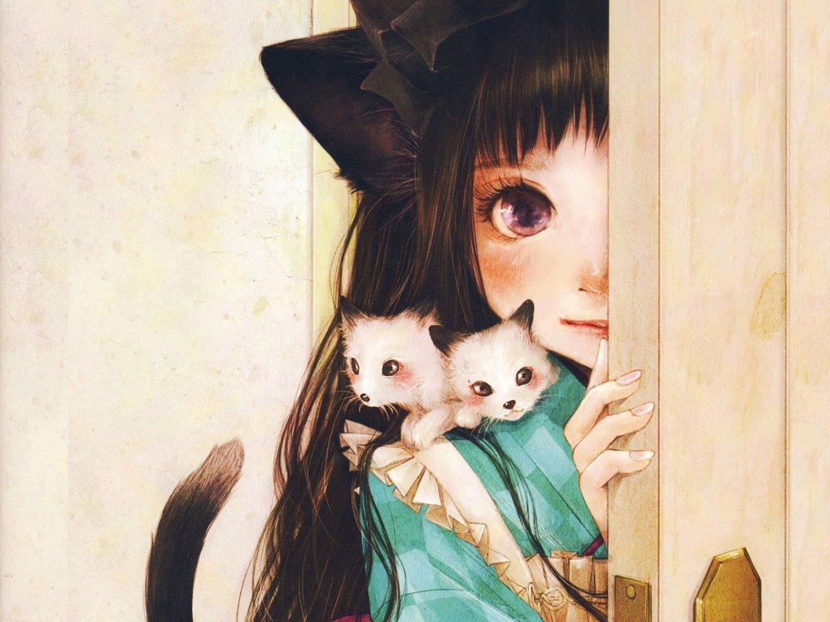 Картинки аниме котов девочек