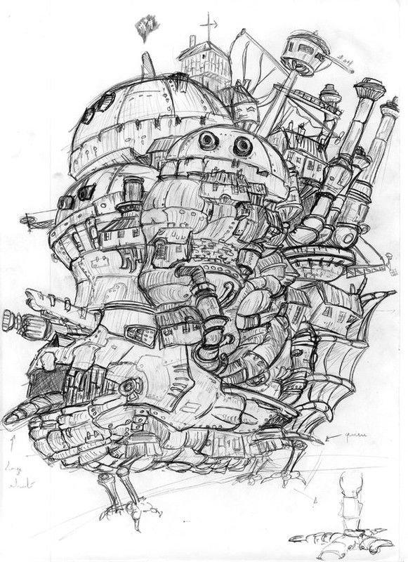 летающий дом рисунок карандашом добавляет