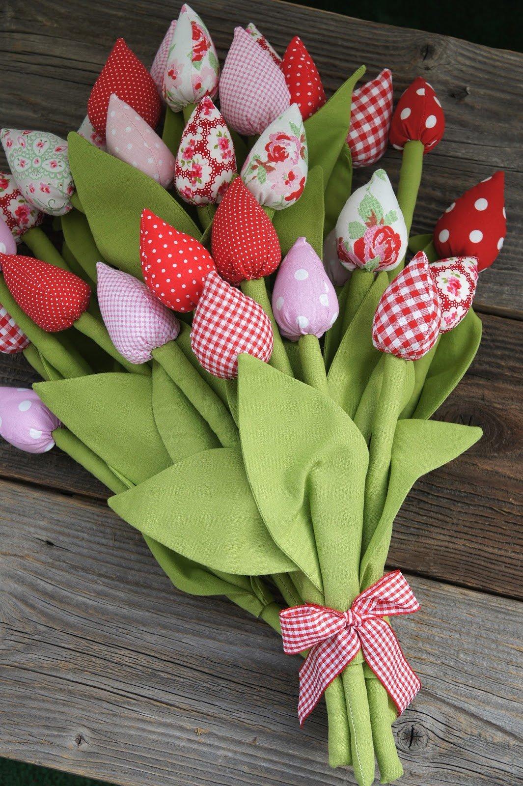 Букет тюльпанов из ткани своими руками