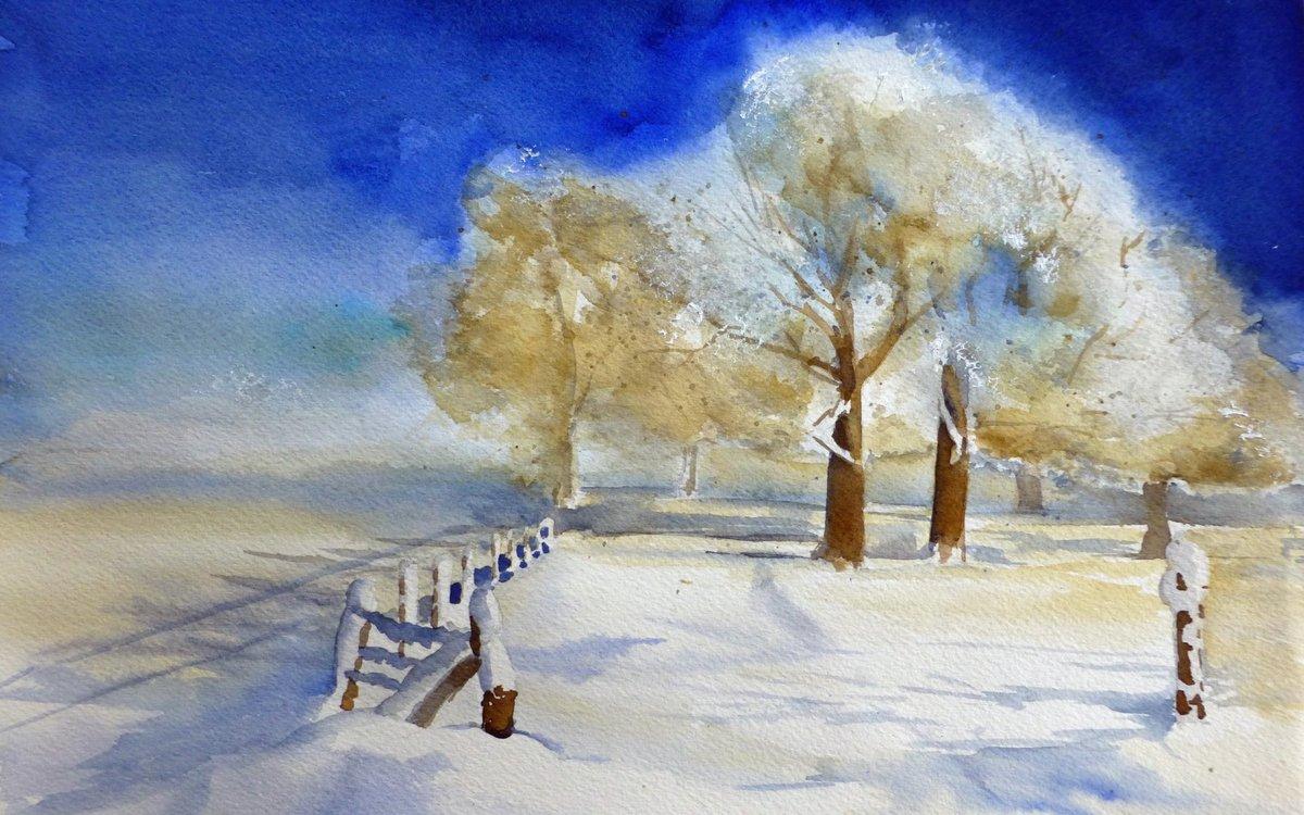 Зима картинки акварелью
