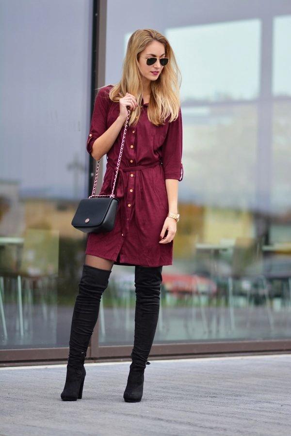 Платье под бордовые сапоги картинки