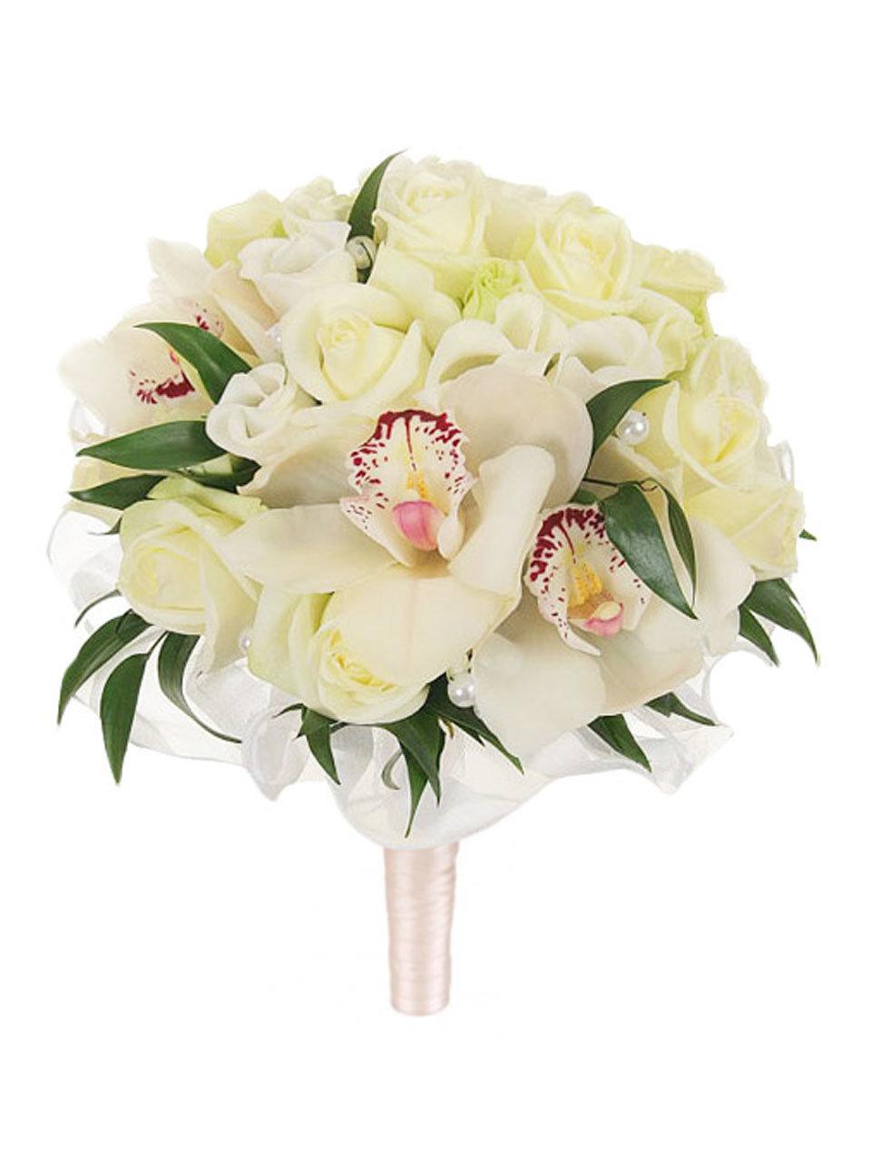 Букет невесты с розовыми орхидеями и розами, даром новосибирск сфинкс