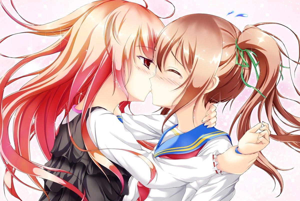 Картинки целующихся девушек аниме, картинки надписью про
