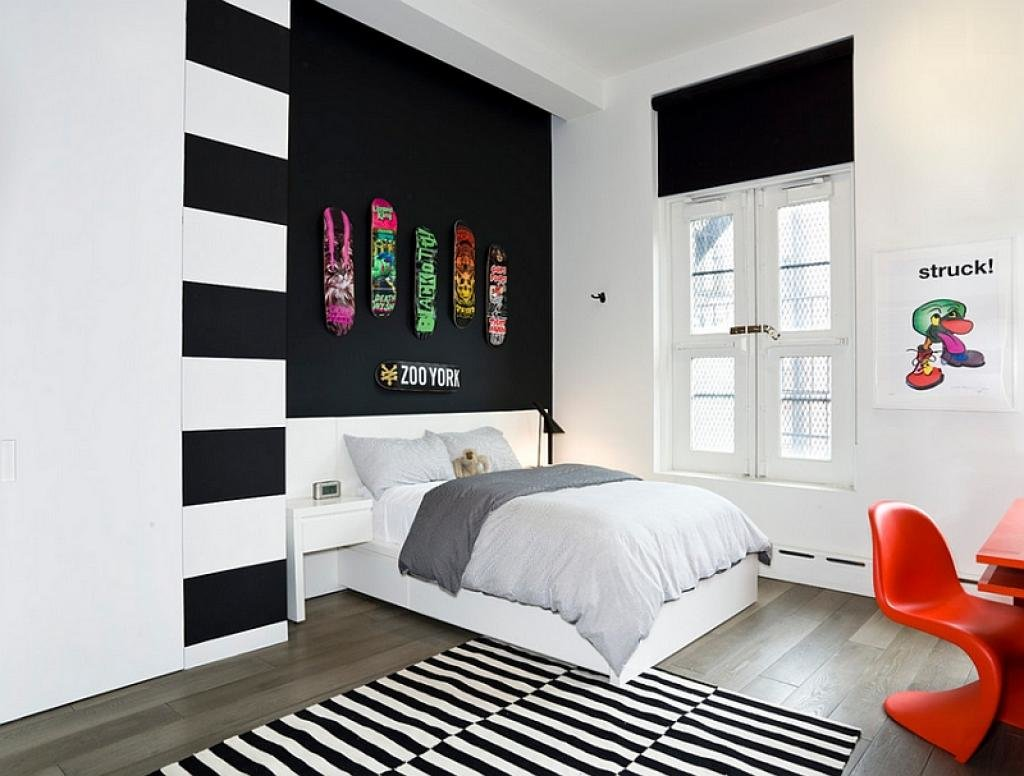 teen-bedroom-in-black-and-white