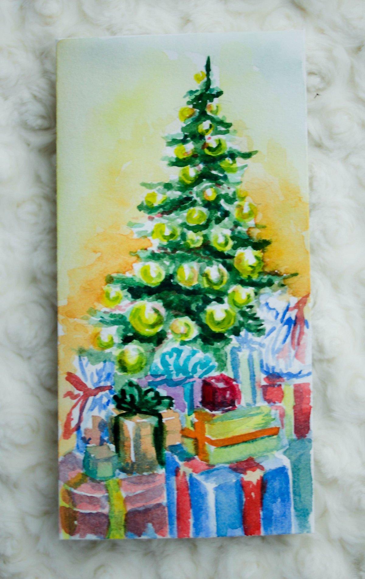 Открытка для, открытка елка из карандашей