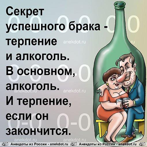 Секрет успешного брака - терпение и алкоголь. В основном, алкоголь. И терпение, если он закончится.