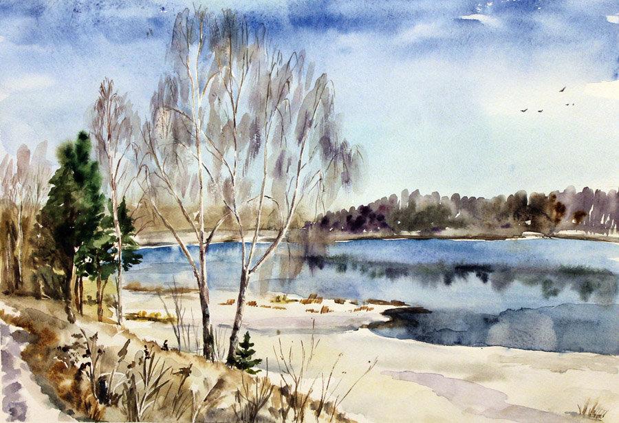 Картинка с весной природа нарисовать