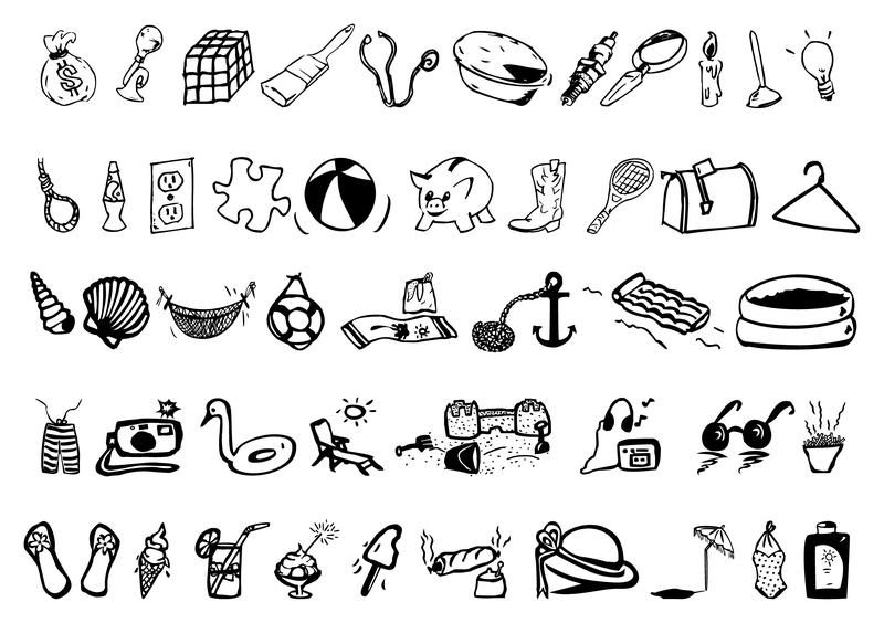 Маленькие картинки для распечатки черно белые животные предметы быта