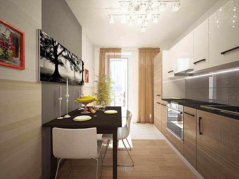 Фото кухни прямоугольной с балконом