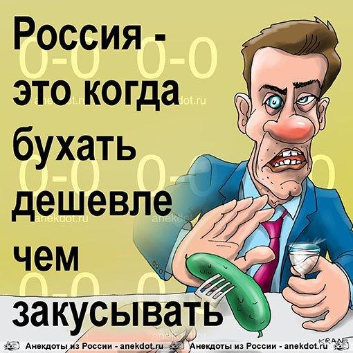 Россия - это когда бухать дешевле чем закусывать.