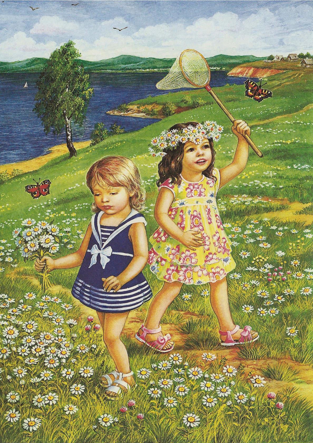 Картинки для детей лето и дети, днем ангела картинкой
