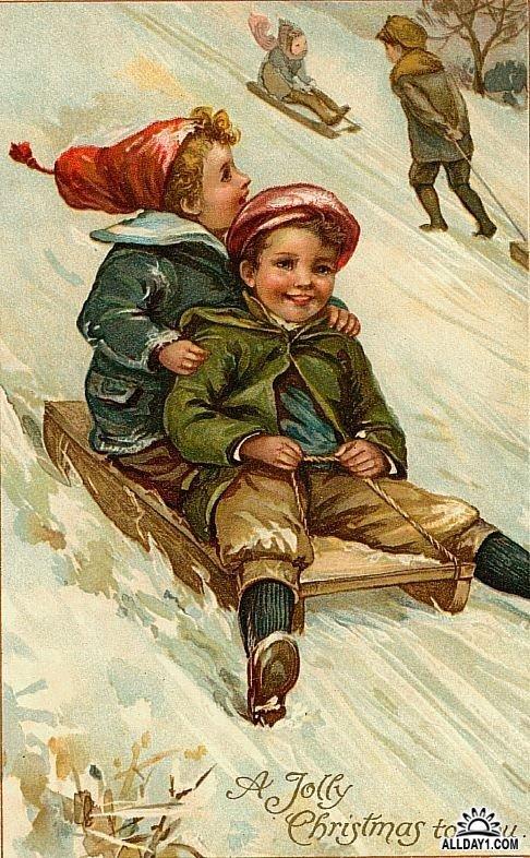 Прикол, винтажные детки новогодние открытки