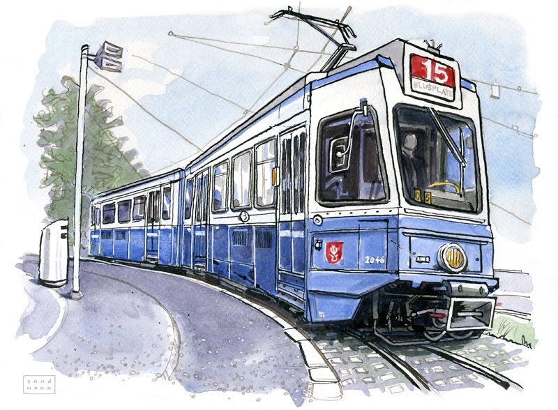 Рисунок трамвая детский