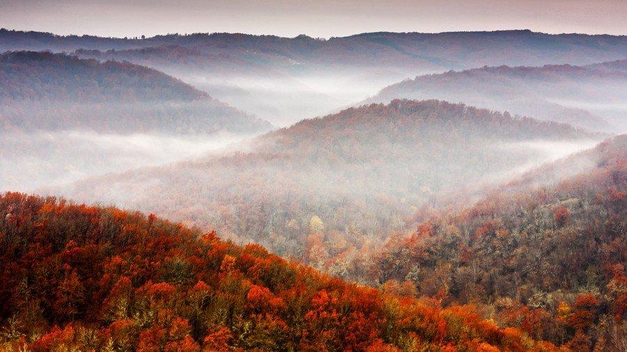 Природа, Обои осенний  туман над Ñолмами