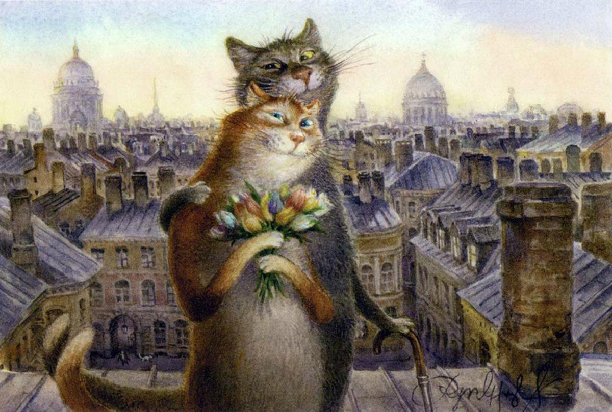 Открытка коты питера