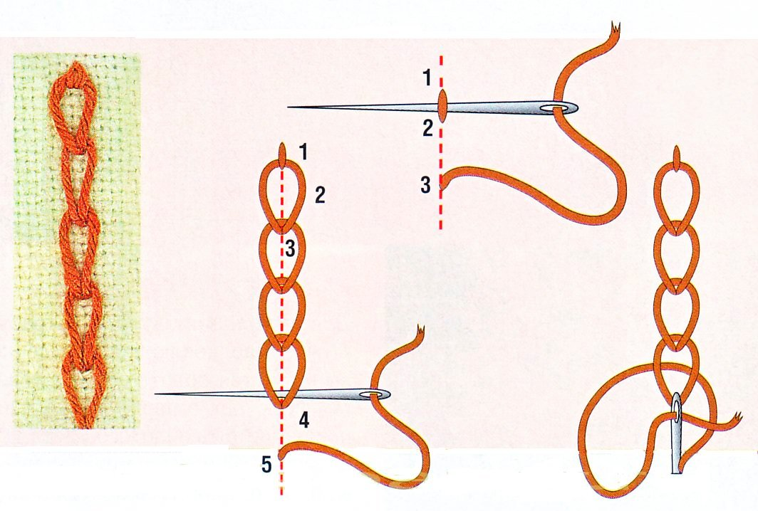 картинка тамбурным швом листок пополам