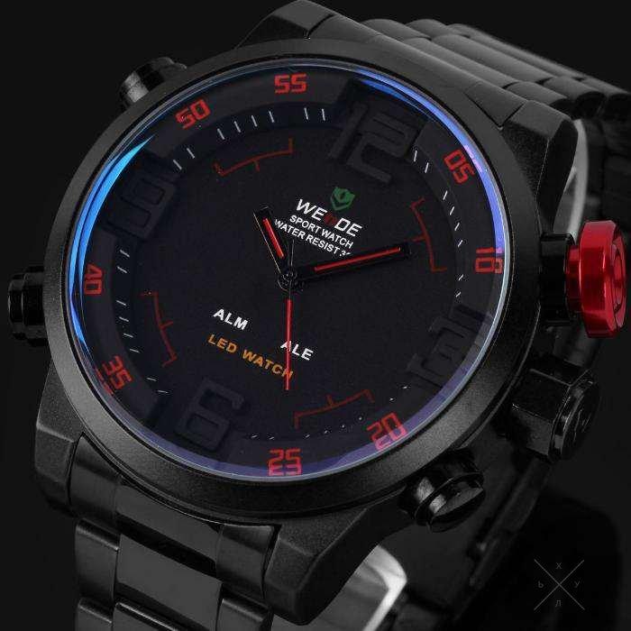 Наручные спортивные мужские часы weide модель whc, представление времени - цифровое и аналоговое, кварцевые, механизм - miyota , батарея - sony srsw, диаметр циферблата - 50 мм, толщина 17,5 мм, вес г, стекло.