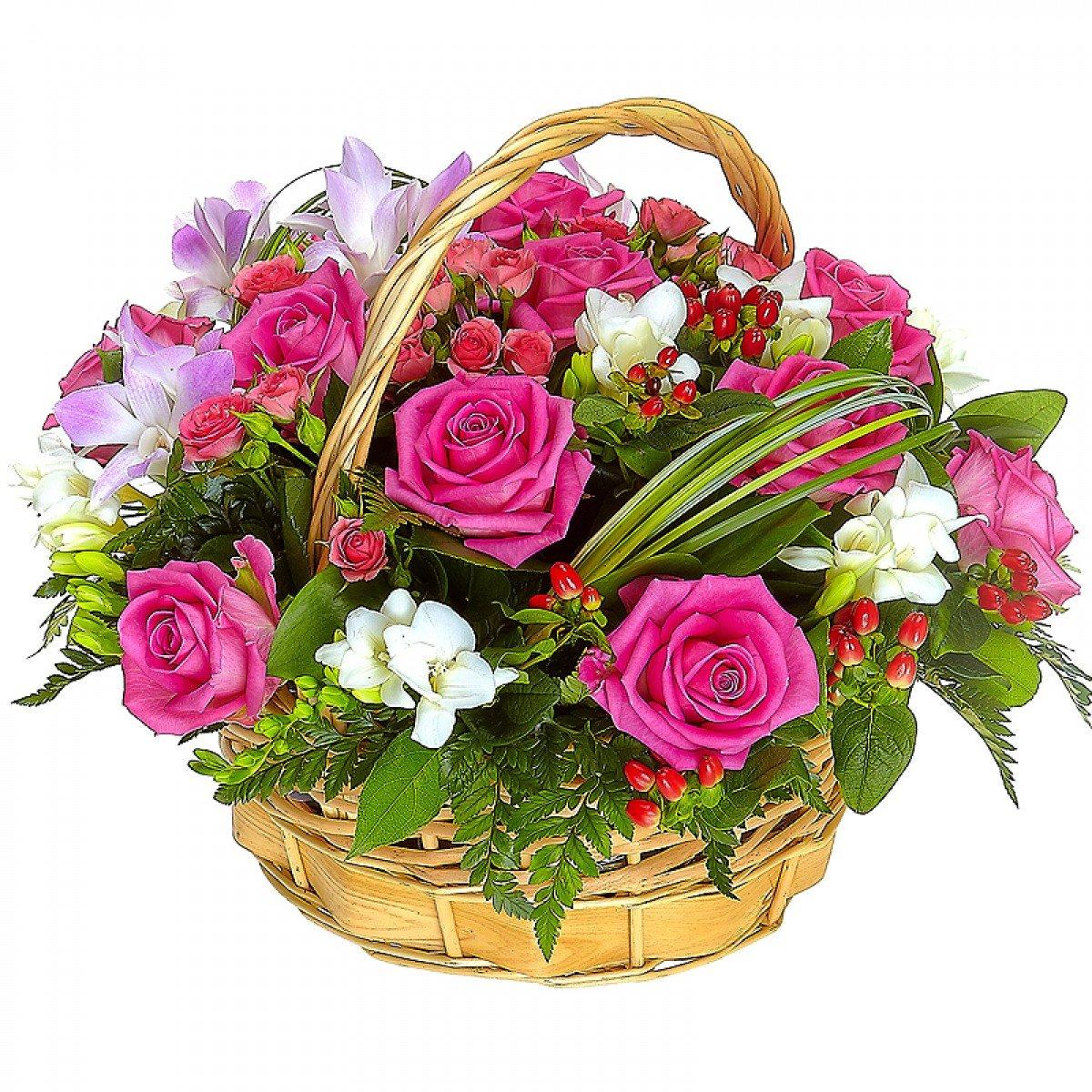 Поздравительная открытка в букет цветов, пруд