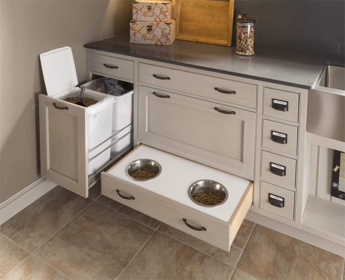 Dog food storage cabinet with bowls home design ideas