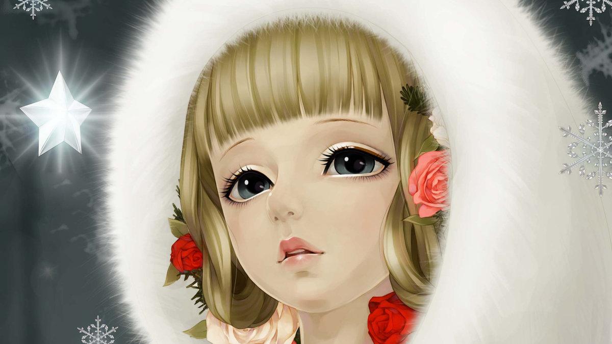 Картинки девушка зима красивые нарисованные, текстом для