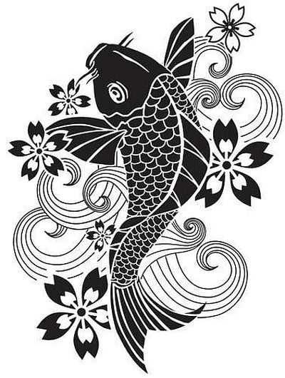 Черно белый эскиз тату с цветами: «Черно белый эскиз тату японский карп.»