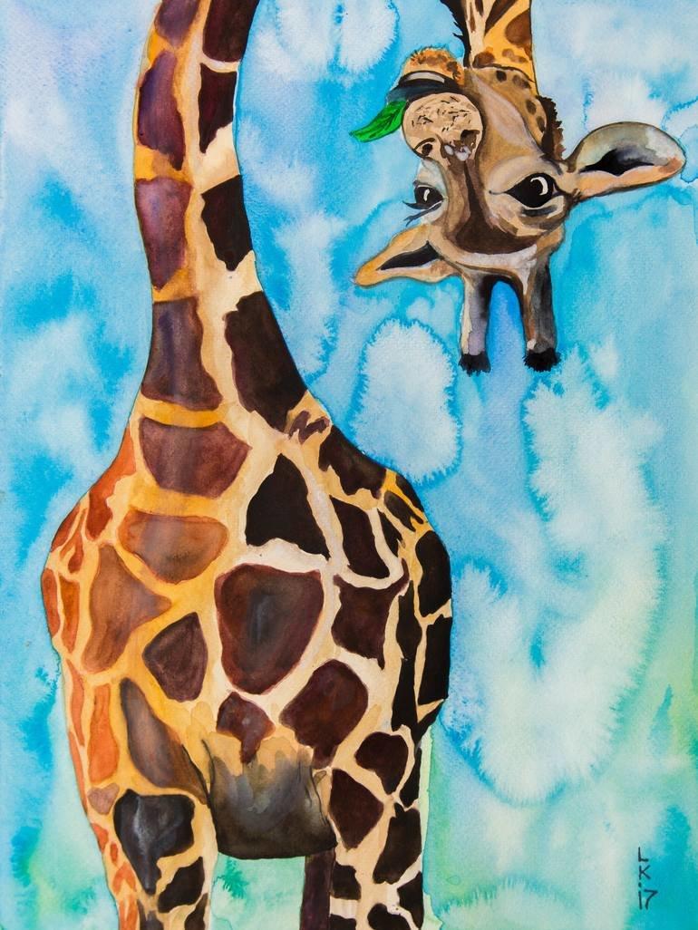 Смешной жираф рисунок, открытку садик
