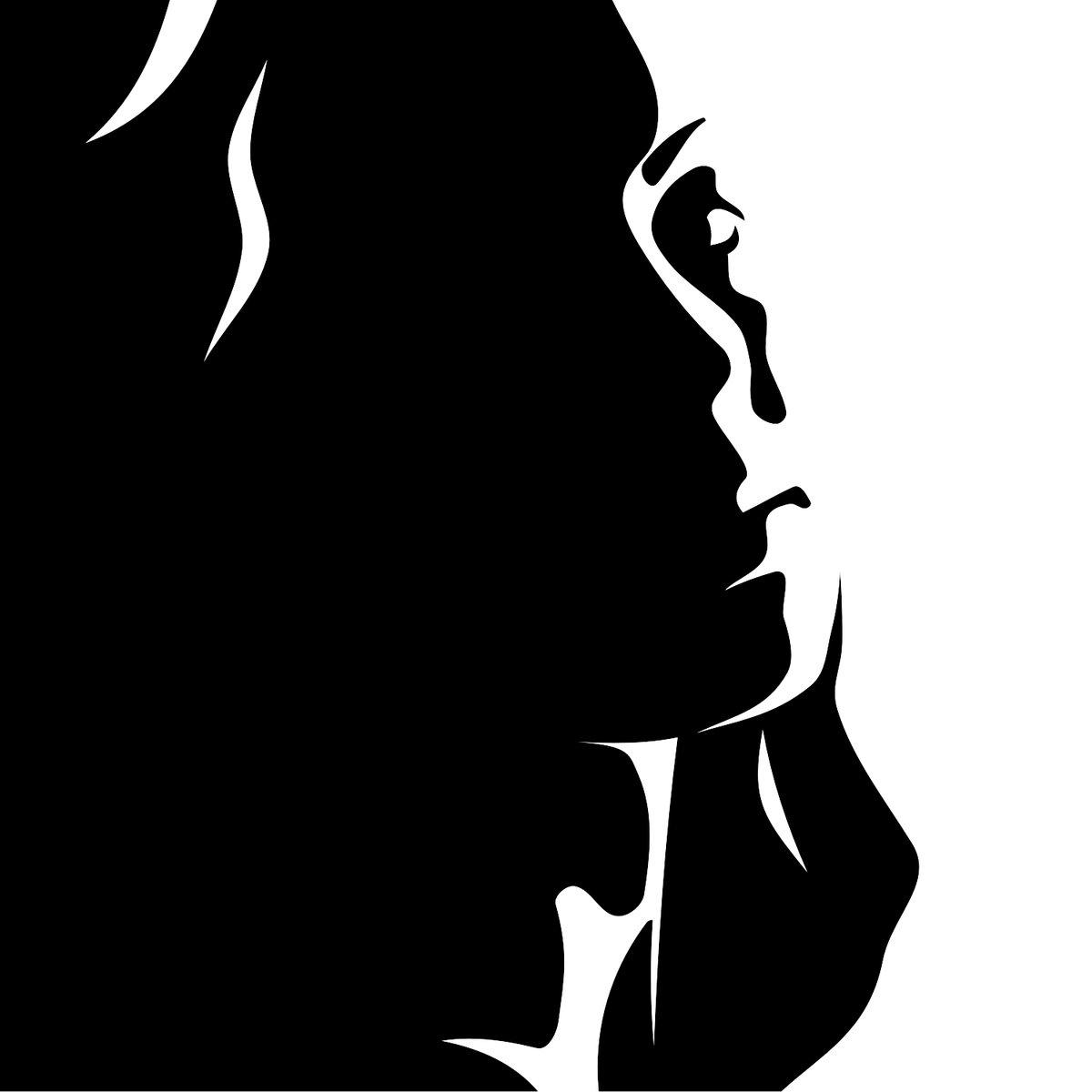 Черно белый силуэт девочки