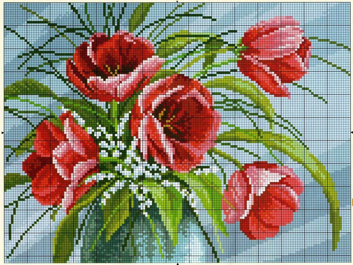 Открытки, вышивка крестом схемы картинки цветы