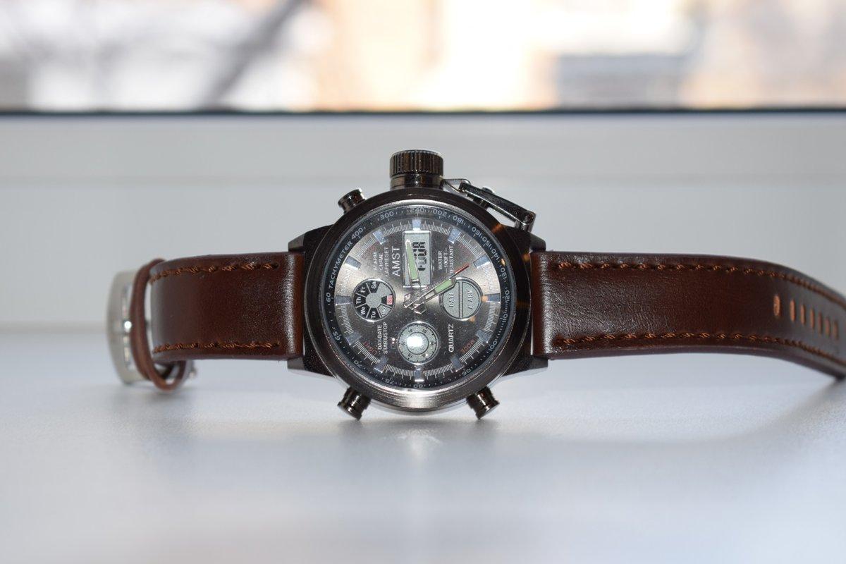 Армейские часы amst (коричневый ремешок).