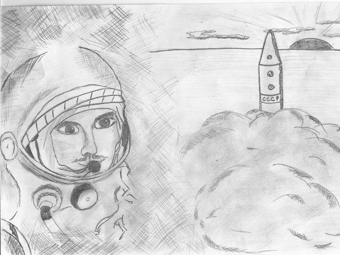 Рождеством, картинка на день космонавтики карандашом