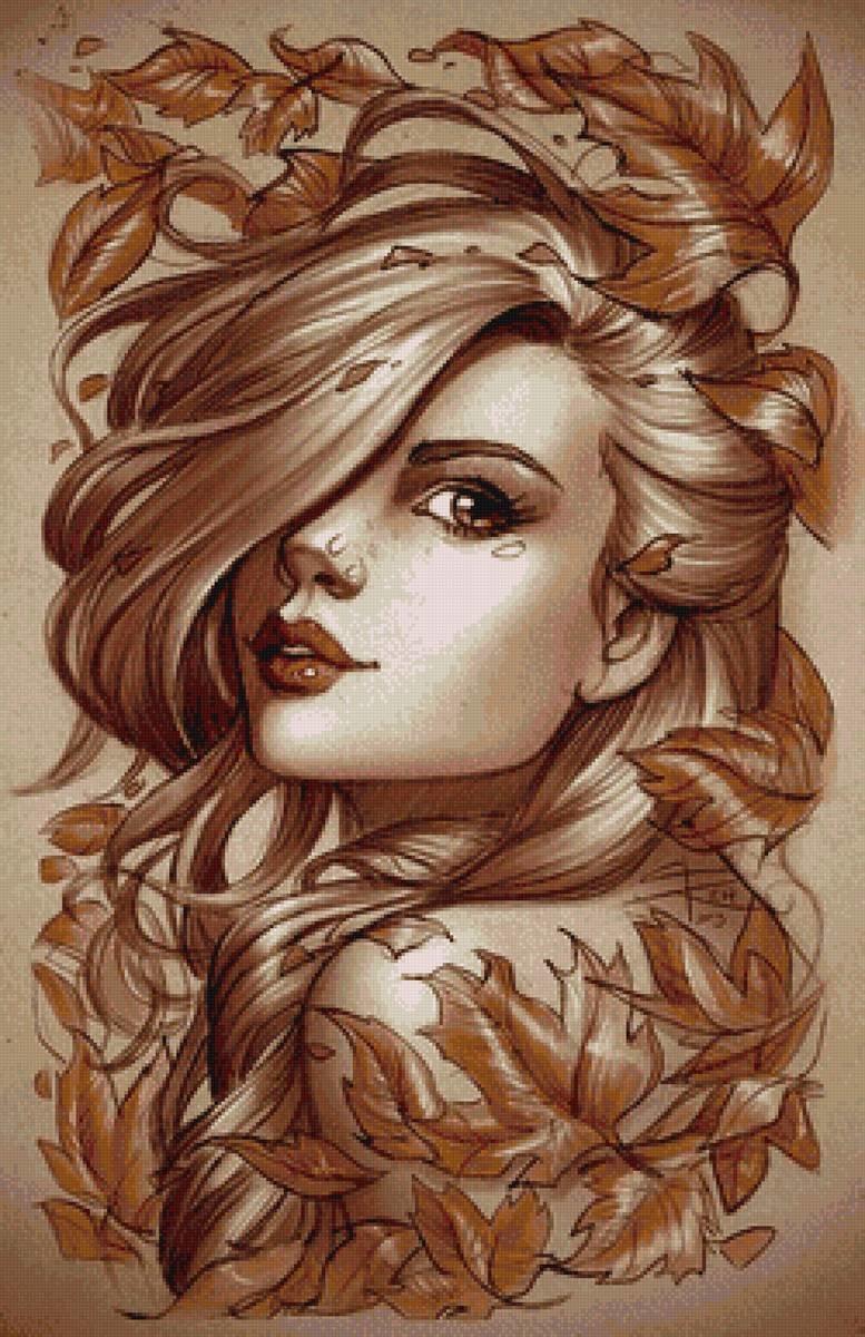 Картинки лица девочки осень для срисовки