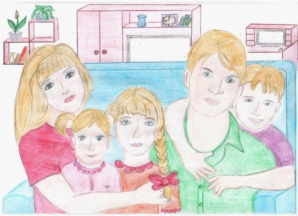 Нарисовать праздничную открытку моя семья для городского конкурса рисунков, дню рождению