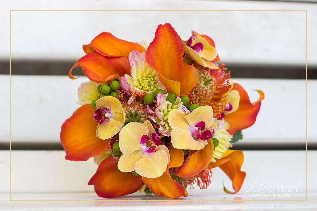 Невесты, желто оранжевый букет невесты