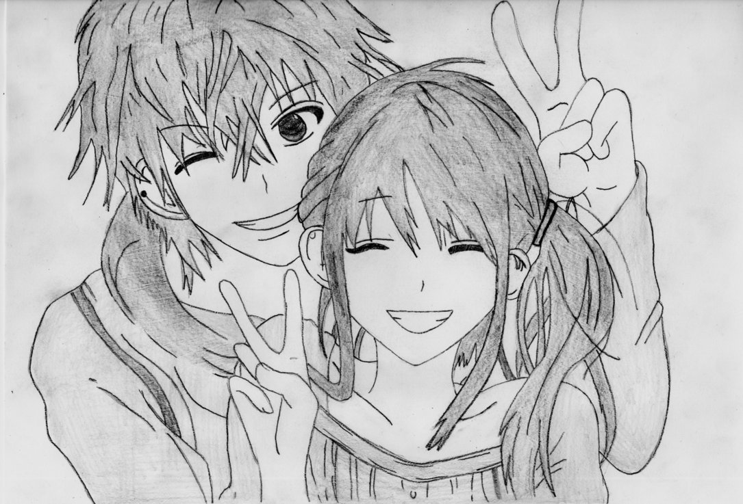 Аниме картинки про любовь карандашом