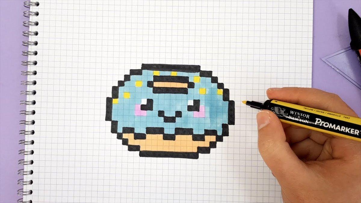 рисунки картинки по клеточкам пончик проведенные