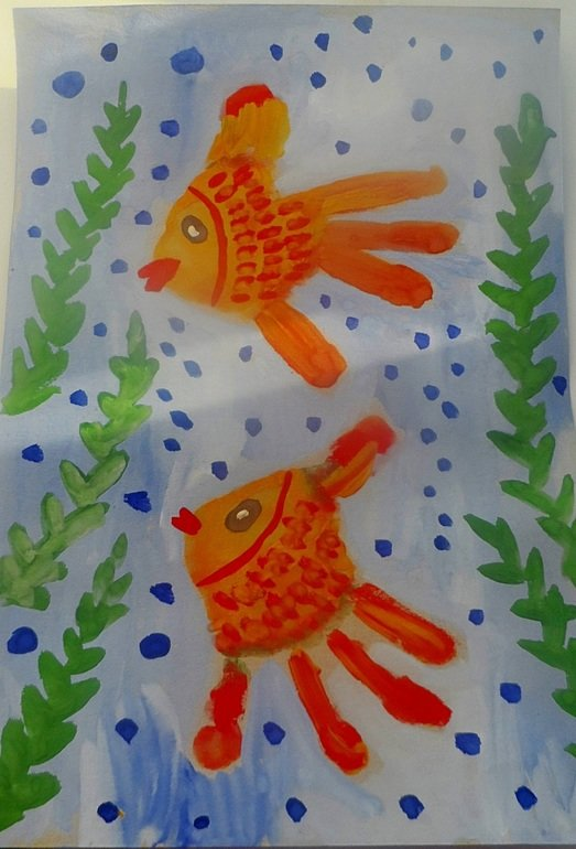рисование рыбки в средней группе картинки решётка