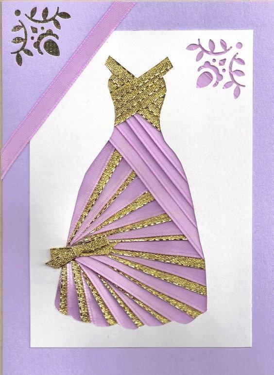 Днем рождения, открытка в форме платья
