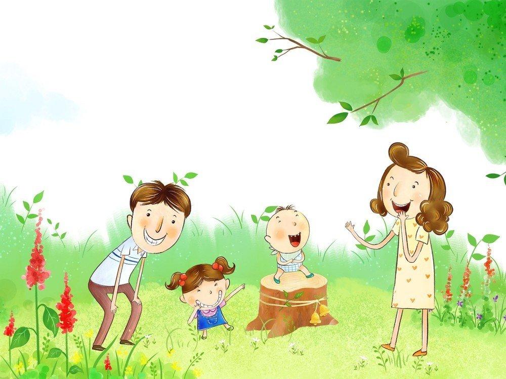 Новорожденного открытка, картинка дети и родители счастливы рисунок