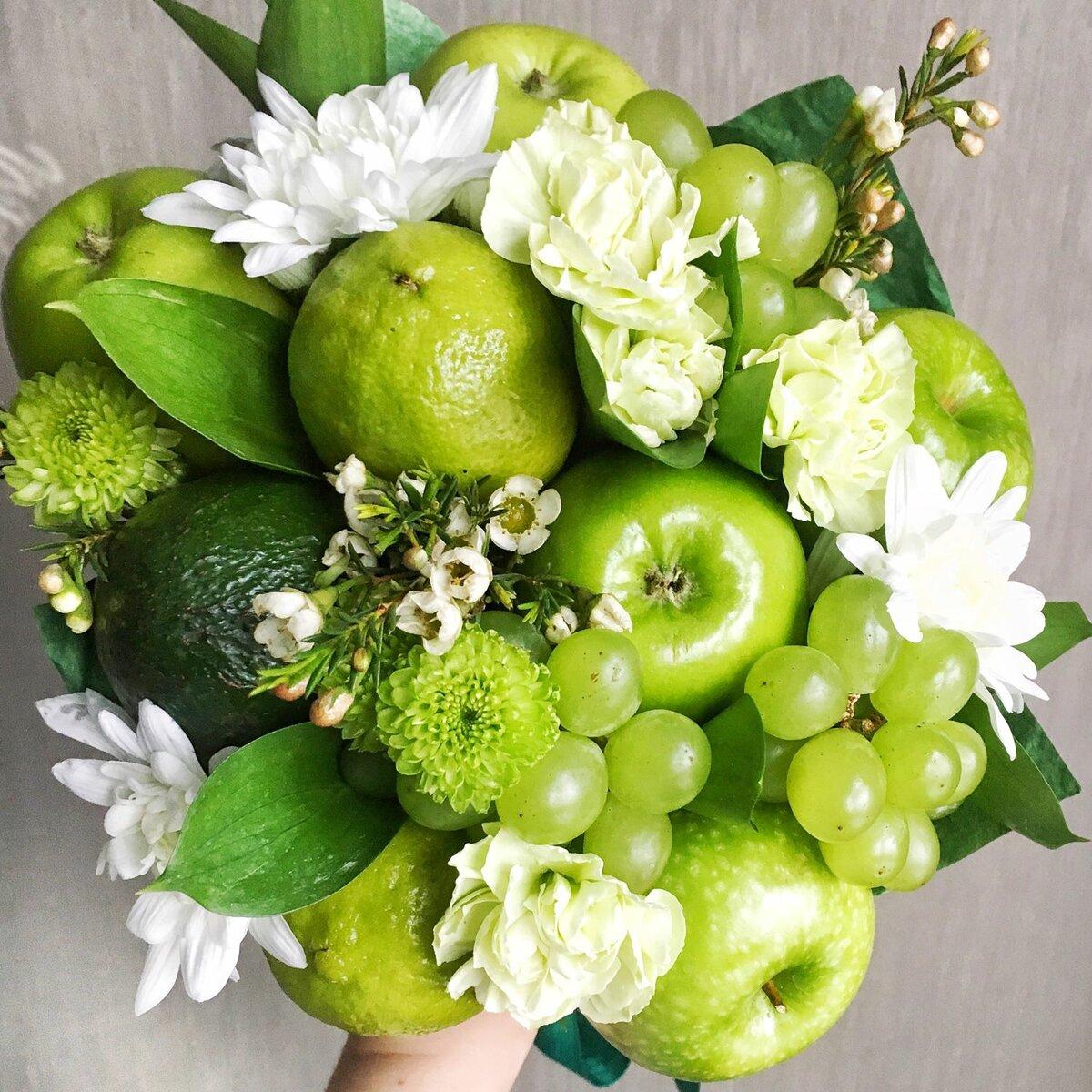 Букеты цветов с фруктами фото, живых цветов