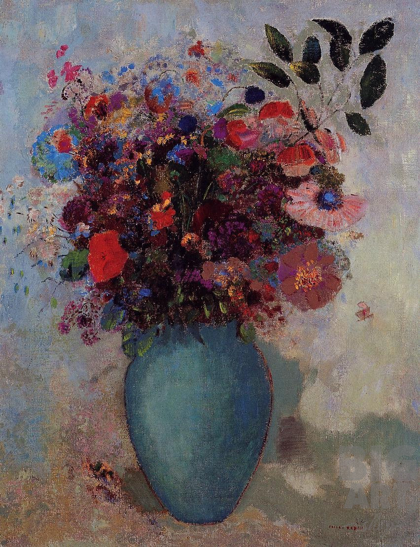 """Репродукция картины """"Цветы в бирюзовой вазе"""" Одилона Редона"""