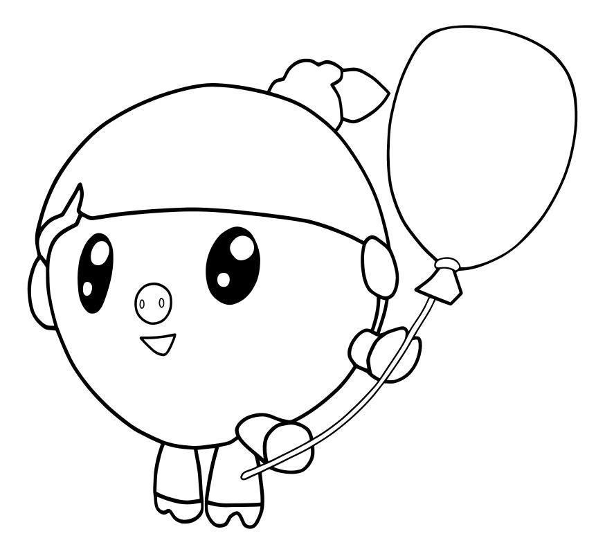 «Раскраска - Малышарики - Нюшенька с воздушным шариком ...