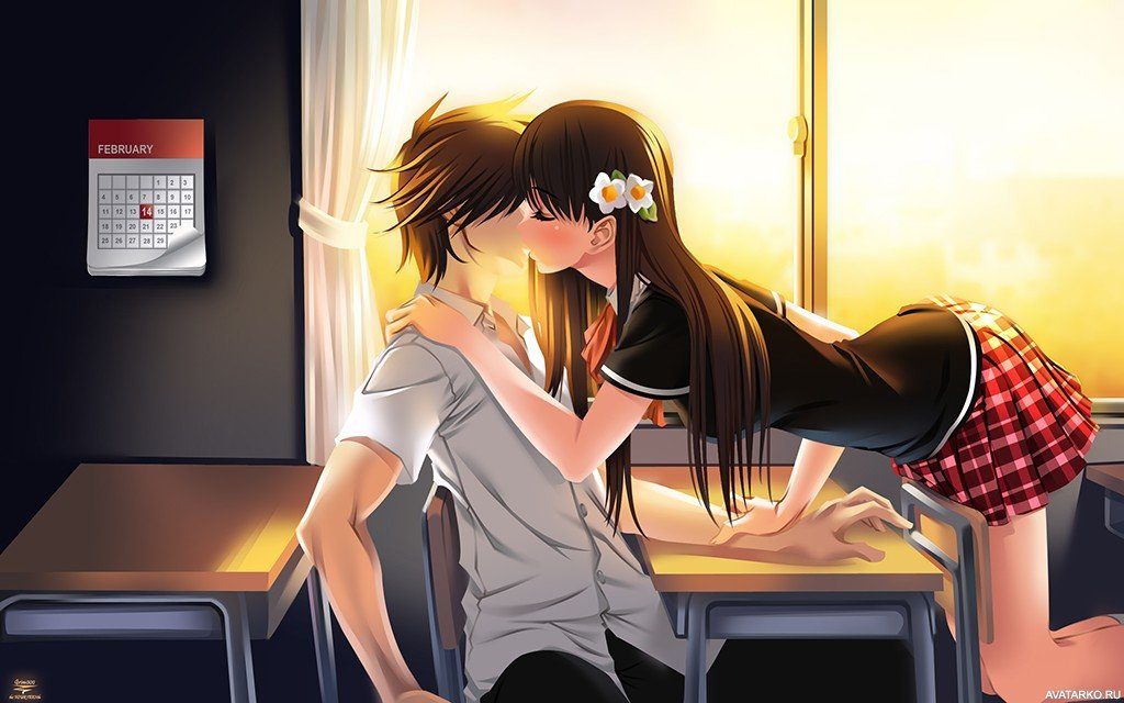 Картинки аниме любовь и поцелуи