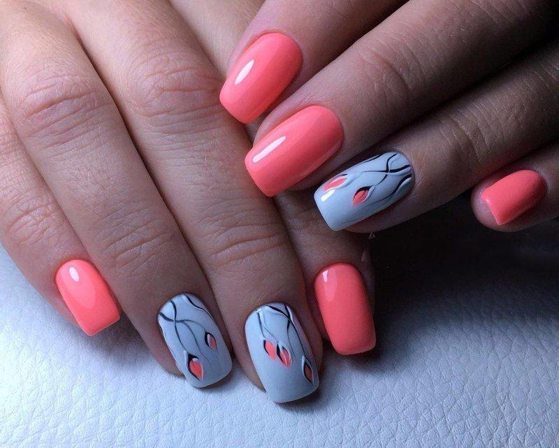 Дизайн коралловых ногтей 2018 фото новинки