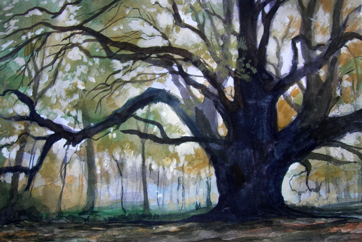 Лес рисунок гуашью