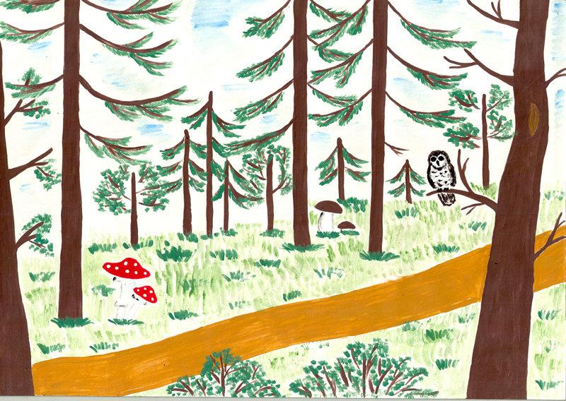День леса рисунок карандашом, надписями дааа