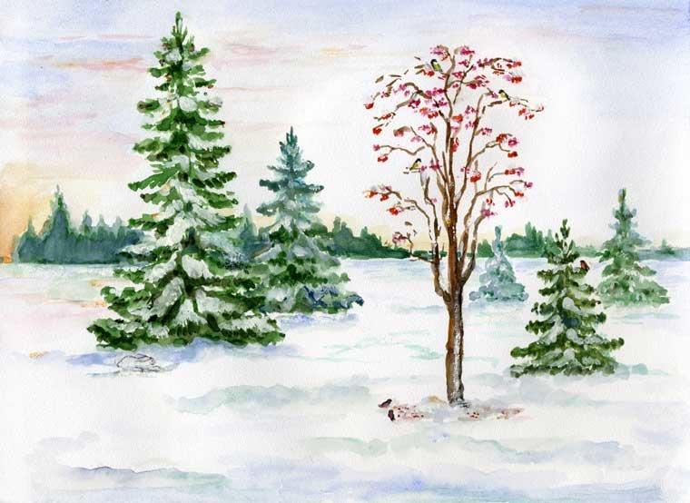Картинки ели в снегу для срисовки