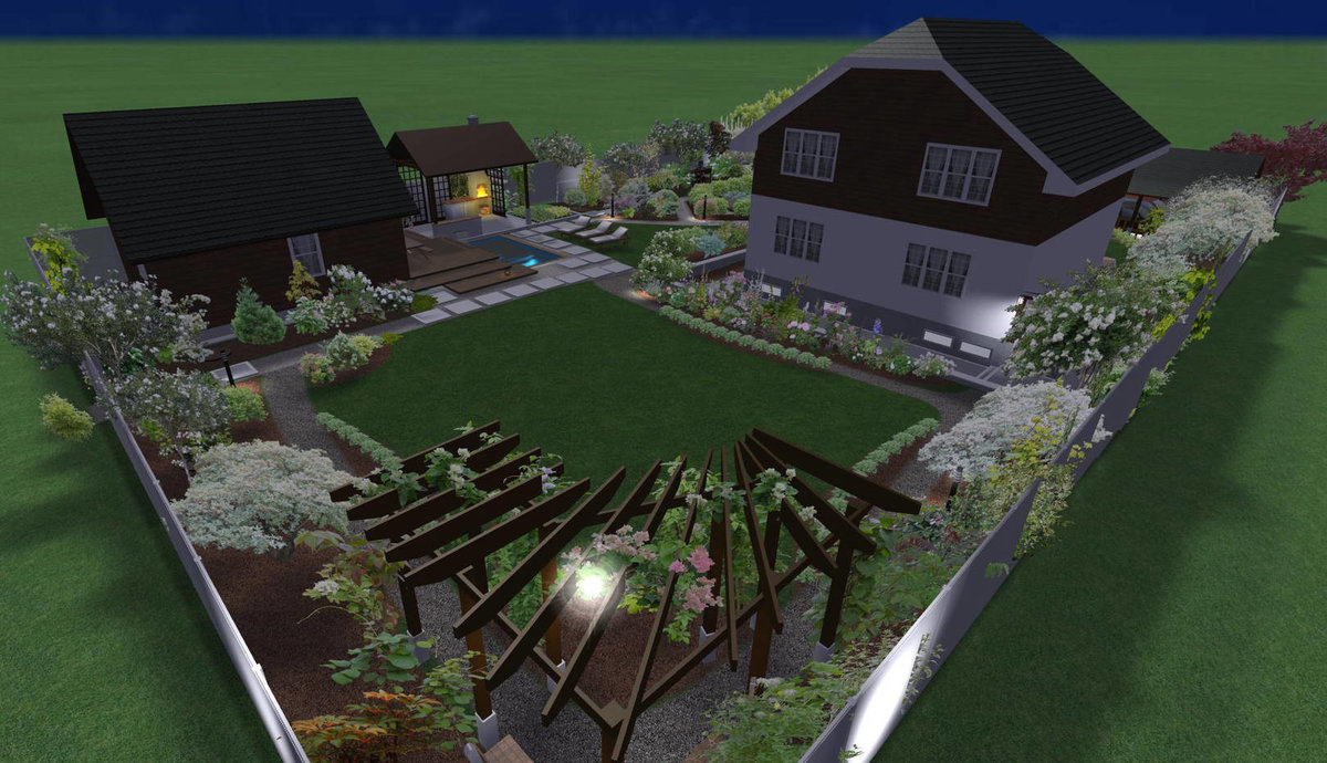 Ландшафтный дизайн участка 15 соток, фото проекта