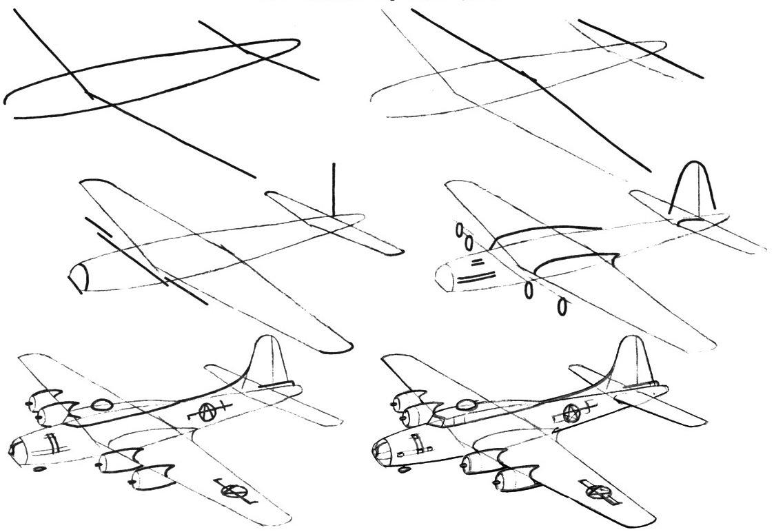 картинки военный самолет карандашом поэтапно