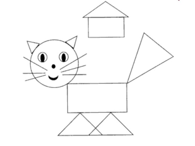 кот из геометрических фигур картинка первые образцы подобных