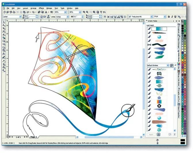 Приколы, создание в кореле картинки нарисованной от руки